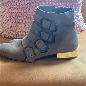 Taupe Buckle Booties